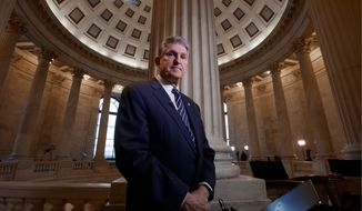 Sen. Joe Manchin, West Virginia Democrat, has a conservative voting record and often aligns with Senate GOP. However, Mr. Manchin's seat will be challenged. Republicans say he's too liberal and Democrats say he's too conservative. President Trump won West Virginia in the 2016 election. (Associated Press)