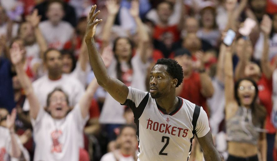 Houston Rockets guard Patrick Beverley (2) reacts after making a basket during the second half in Game 4 of an NBA basketball second-round playoff series against the San Antonio Spurs, Sunday, May 7, 2017, in Houston. Houston won 125-104. (AP Photo/Eric Christian Smith)