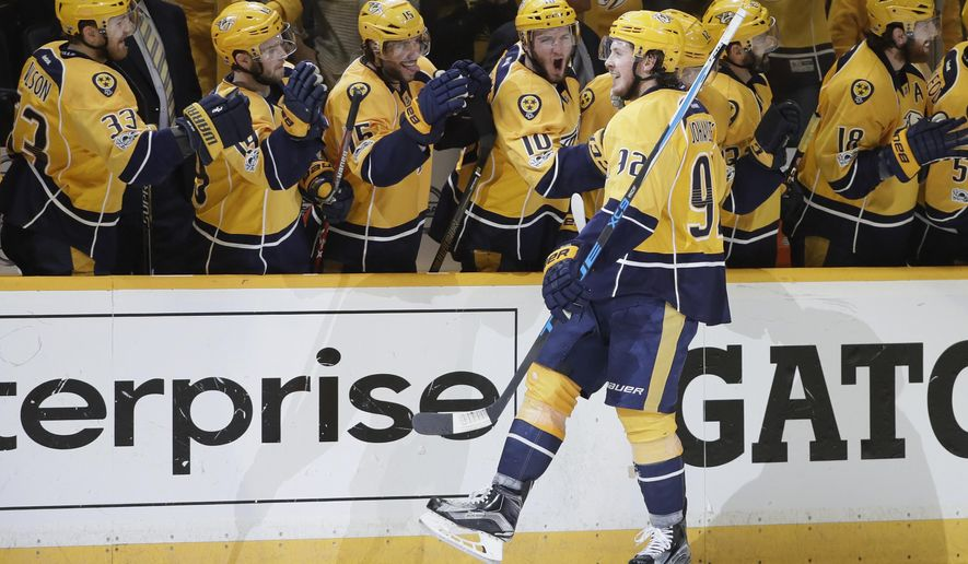Nashville Predators center Ryan Johansen (92) celebrates after scoring against the St. Louis Blues during the third period in Game 6 of a second-round NHL hockey playoff series, Sunday, May 7, 2017, in Nashville, Tenn. (AP Photo/Mark Humphrey)