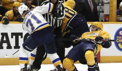 Nashville Predators center Calle Jarnkrok, of Sweden, right, falls back during a face-off with St. Louis Blues right wing Vladimir Sobotka (71), of the Czech Republic, during the second period in Game 6 of a second-round NHL hockey playoff series Sunday, May 7, 2017, in Nashville, Tenn. (AP Photo/Mark Humphrey)