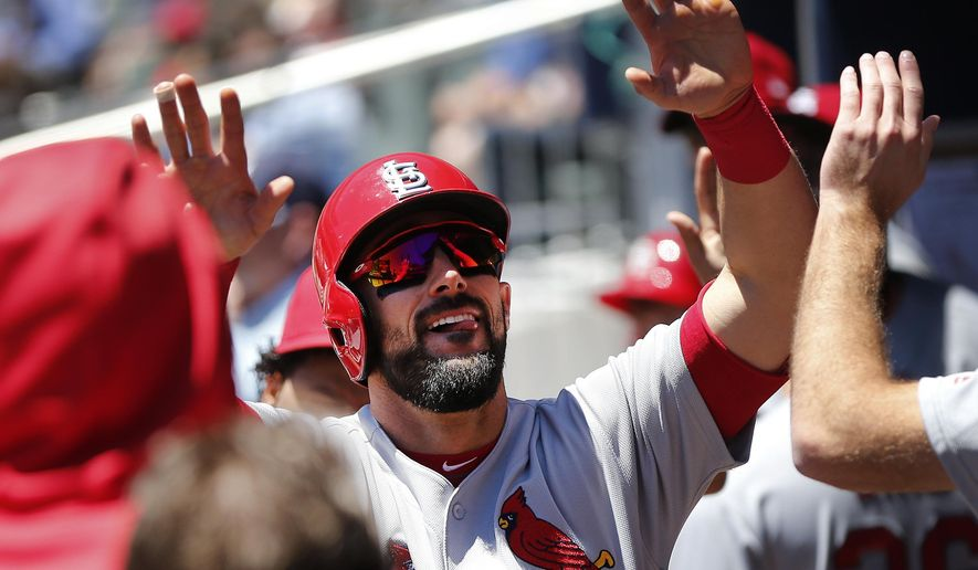 St. Louis Cardinals first baseman Matt Carpenter celebrates after hitting a home run in the first inning of a baseball game against the Atlanta Braves, Sunday, May 7, 2017, in Atlanta. (AP Photo/John Bazemore)