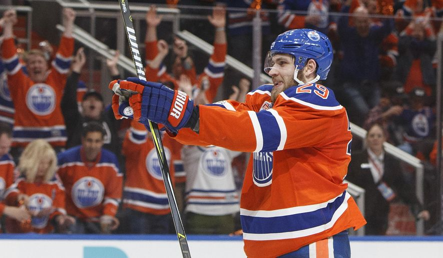 Edmonton Oilers' Leon Draisaitl (29) celebrates a goal agains the Anaheim Ducks during the second period in Game six of a second-round NHL hockey Stanley Cup playoff series in Edmonton, Alberta, Sunday, May 7, 2017. (Jason Franson/The Canadian Press via AP)