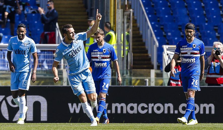 Lazio's Stefan de Vrij celebrates after scoring a goal during the Italian Serie A soccer match between Lazio and Sampdoria at Olympic stadium in Rome, Italy, Sunday, May 7, 2017. (Angelo Carconi/ANSA via AP)