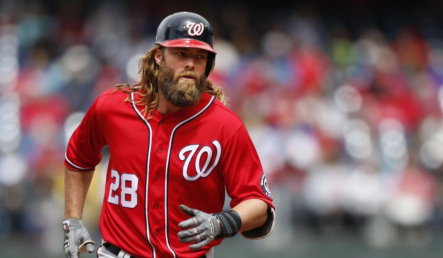 Washington Nationals' Jayson Werth (28) runs the bases after hitting a home run off Philadelphia Phillies starting pitcher Jeremy Hellickson in the first inning of a baseball game, Sunday, May 7, 2017, in Philadelphia. (AP Photo/Laurence Kesterson)