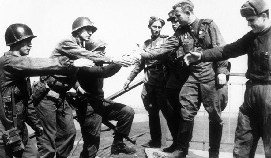 Elbe River reunion April 25, 1945