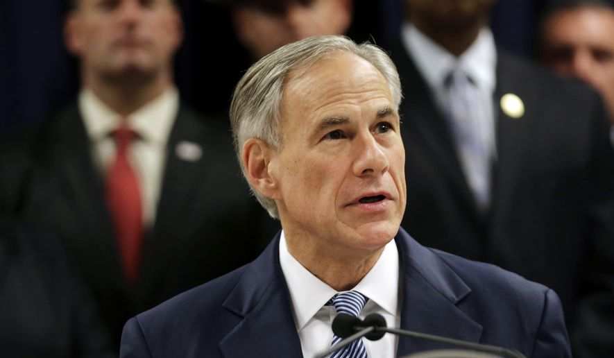 """In this April 10, 2017, file photo, Texas Gov. Greg Abbott speaks at a new conference in Houston. Abbott on Sunday, May 7, 2017, signed a so-called """"sanctuary cities"""" ban that lets police ask during routine stops whether someone is in the U.S. legally and threatens sheriffs with jail if they don't cooperate with federal immigration agents. (Marie D. De Jesus /Houston Chronicle via AP, File)"""