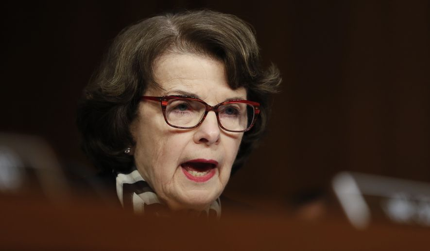 "Sen. Dianne Feinstein, California Democrat, questions former acting Attorney General Sally Yates and former National Intelligence Director James Clapper on Capitol Hill in Washington on May 8, 2017, during the Senate Judiciary subcommittee on Crime and Terrorism hearing: ""Russian Interference in the 2016 United States Election."" (Associated Press) **FILE**"