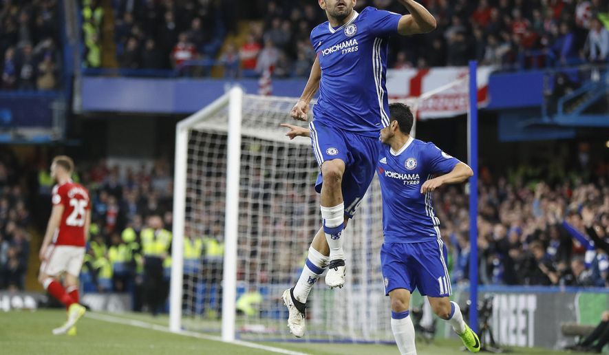 Chelsea's Diego Costa celebrates scoring a goal during the English Premier League soccer match between Chelsea and Middlesbrough at Stamford Bridge stadium in London, Monday, May 8, 2017. (AP Photo/Frank Augstein)