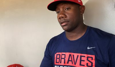 """In this photo taken Wednesday, May 3, 2017, Gwinnett Braves' Ryan Howard is interviewed before a minor league baseball game against the Durham Bulls in Gwinnett, Ga. Howard is an MVP, a World Series champion and once one of baseball's most feared sluggers. So what's he doing in the minor leagues at age 37? """"I've still got something in the tank,"""" he says. (AP Photo/Paul Newberry)"""