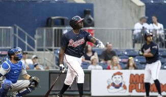 "In this photo taken Wednesday, May 3, 2017, and provided by the Gwinnett Braves, Gwinnett Braves' Ryan Howard watches his two-run home run during the fourth inning of a minor league baseball game against the Durham Bulls in Gwinnett, Ga. Howard is an MVP, a World Series champion and once one of baseball's most feared sluggers. So what's he doing in the minor leagues at age 37? ""I've still got something in the tank,"" he says. (Jim Lacey/Gwinnett Braves via AP)"