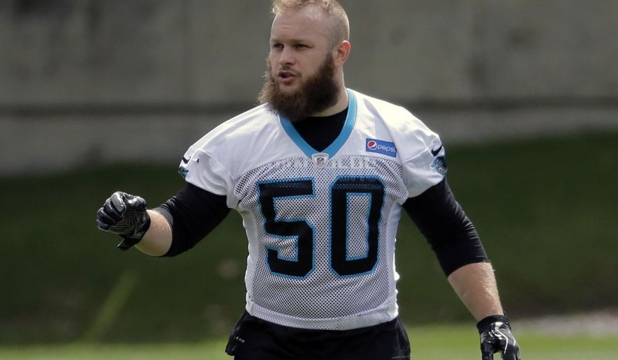 "FILE - In this May 5, 2017, file photo, Carolina Panthers' Ben Boulware (50) runs a drill during the NFL football team's rookie camp in Charlotte, N.C. Boulware was the heart and soul of the national champion Clemson Tigers' defense last year. Yet he didn't get drafted. The highly motivated Boulwarie signed with the Panthers as an undrafted free agent and now says ""I'm in the business of proving people wrong.""  (AP Photo/Chuck Burton, File)"