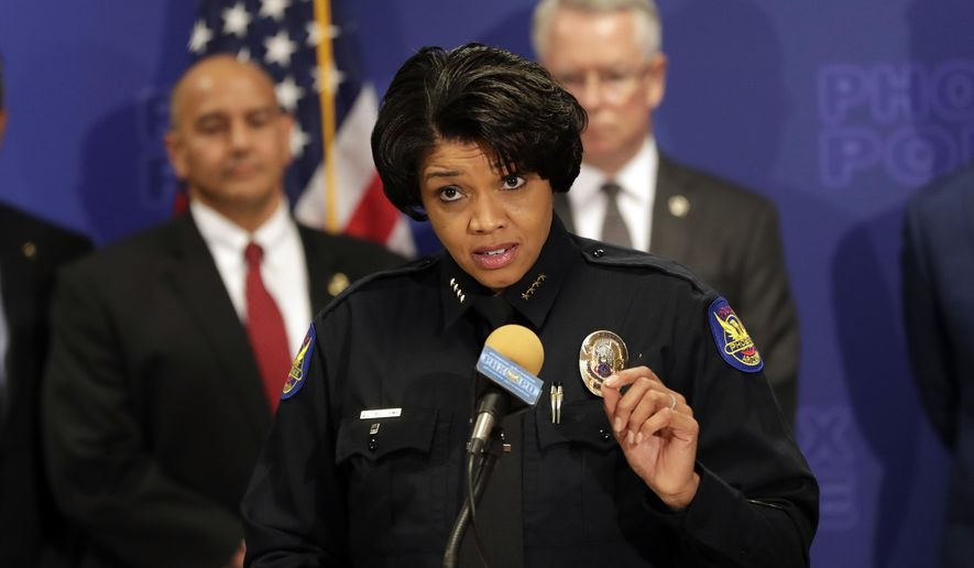 Phoenix Police Chief Jeri L. Williams announces, Monday, May 8, 2017, in Phoenix, the arrest of 23-year-old Aaron Juan Saucedo in connection with the serial street shootings that terrorized the Phoenix area over four months in 2016. (AP Photo/Matt York)
