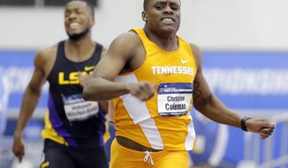 FILE - In this March 11, 2017, file photo, Tennesee's Christian Coleman wins the men's 200 meter dash ahead of LSU's Nethaneel Mitchell-Blake at the NCAA indoor track and field championships in College Station, Texas. Christian Coleman is having a big year and could have an even bigger future as one of the nation's most promising sprinters. (AP Photo/Michael Wyke, File)