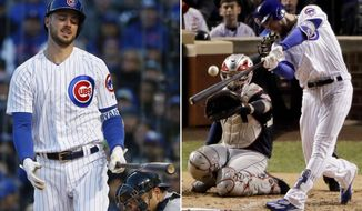 FILE - At left, in a May 7, 2017, file photo, Chicago Cubs' Kris Bryant reacts after striking out swinging during the first inning of an interleague baseball game against the New York Yankees, in Chicago. At right, in an Oct. 30, 2016, file photo, Chicago Cubs' Kris Bryant hits a home run against the Cleveland Indians during the fourth inning of Game 5 of the Major League Baseball World Series, in Chicago. The Chicago Cubs made it look so easy last season it was almost hard to envision the difficulties they're experiencing this year. (AP Photo/File)