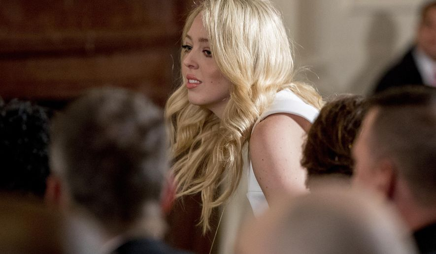 In this photo taken April 6, 2017, Tiffany Trump, the daughter of President Donald Trump is seen in the East Room of the White House in Washington. Tiffany Trump, the youngest daughter of the president, will be enrolling at Georgetown University Law School this fall, according to her brother. Eric Trump, who revealed the selection, received his undergraduate degree from the school.  (AP Photo/Andrew Harnik)
