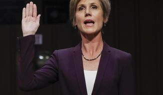"Former acting Attorney General Sally Yates is sworn-in on Capitol Hill in Washington, Monday, May 8, 2017, prior to testifying before the Senate Judiciary subcommittee on Crime and Terrorism hearing: ""Russian Interference in the 2016 United States Election.""(AP Photo/Pablo Martinez Monsivais)"