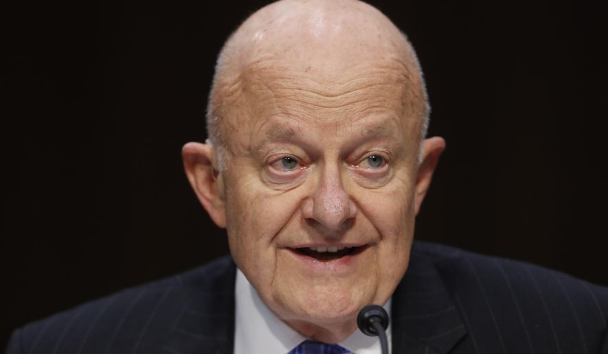 "Former National Intelligence Director James Clapper testifies on Capitol Hill in Washington, Monday, May 8, 2017, before the Senate Judiciary subcommittee on Crime and Terrorism hearing: ""Russian Interference in the 2016 United States Election."" (AP Photo/Pablo Martinez Monsivais)"