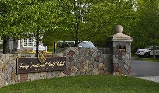 FILE - In this May 7, 2017 file photo, the entrance to Trump National Golf Club in Bedminster, N.J. (AP Photo/Pablo Martinez Monsivais, File) **FILE**