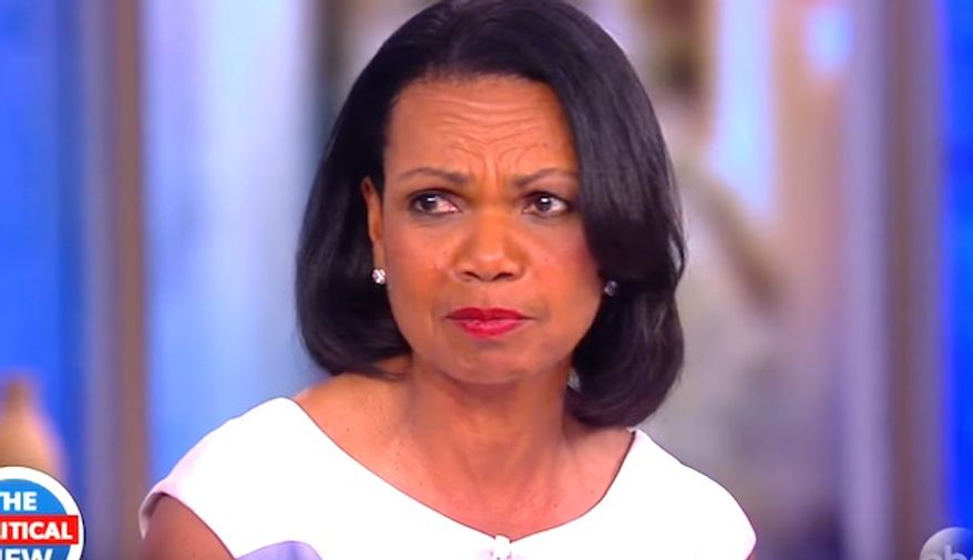 """Former Secretary of State Condoleezza Rice discusses President Donald Trump while on ABC's """"The View,"""" May 9, 2017. (YouTube, The View, screenshot)"""