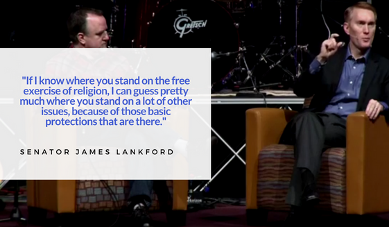 Sen. James Lankford, R-Okla, speaking to a question about religious liberty at a recent gathering of Missouri Baptists.