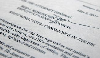 """The letter from Deputy Attorney General Rod Rosenstein titled """"Restoring Public Confidence in the FBI"""" is photographed in Washington, Tuesday, May 9, 2017. President Donald Trump abruptly fired FBI Director James Comey, ousting the nation's top law enforcement official in the midst of an investigation into whether Trump's campaign had ties to Russia's election meddling. In the letter to Comey, Trump said the firing was necessary to restore """"public trust and confidence"""" in the FBI. (AP Photo/Jon Elswick)"""
