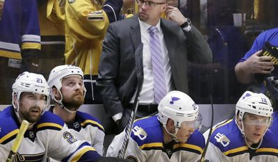 St. Louis Blues head coach Mike Yeo, top center, watches the action during the third period in Game 6 of a second-round NHL hockey playoff series against the Nashville Predators, Sunday, May 7, 2017, in Nashville, Tenn. (AP Photo/Mark Humphrey)