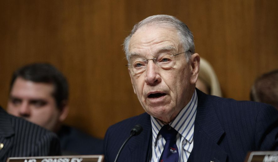 """FILE - In this March 7, 2017 file photo, Senate Judiciary Committee Chairman Sen. Chuck Grassley, R-Iowa speaks on Capitol Hill in Washington. Grassley and Rep. Jason Chaffetz, R-Utah say a memo instructing Health and Human Services employees to consult with department personnel before talking to Congress is """"potentially illegal and unconstitutional.""""  (AP Photo/J. Scott Applewhite, File)"""