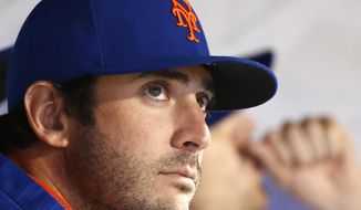 New York Mets pitcher Matt Harvey sits in the dugout during the team's baseball game against the San Francisco Giants, Tuesday, May 9, 2017, in New York. (AP Photo/Kathy Willens)
