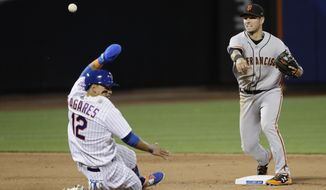 San Francisco Giants' Joe Panik throws out New York Mets' Asdrubal Cabrera at first base for a double play after forcing out Juan Lagares, left, during the eighth inning of a baseball game, Monday, May 8, 2017, in New York. (AP Photo/Frank Franklin II)