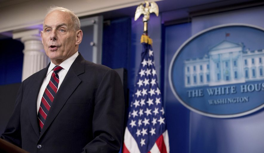 Homeland Security Secretary John Kelly speaks at the White House in Washington in this May 2, 2017, file photo. The Trump administration is taking the unusual step of hunting for evidence of crimes committed by Haitian immigrants as it decides whether to allow them to continue participating in a humanitarian program that has shielded tens of thousands from deportation since an earthquake destroyed much of their country .(AP Photo/Andrew Harnik, File)