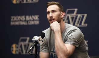 Utah Jazz forward Gordon Hayward talks to the media during the NBA teams end of season press conference at the Zions Bank Basketball Center in Salt Lake City on Tuesday, May 9, 2017. (Kristin Murphy/The Deseret News via AP)
