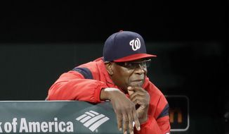Washington Nationals manager Dusty Baker watches from the dugout in the ninth inning of an interleague baseball game against the Baltimore Orioles in Baltimore, Monday, May 8, 2017. Baltimore won 6-4. (AP Photo/Patrick Semansky)