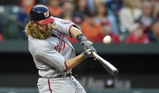 Washington Nationals' Jayson Werth breaks his bat during the fourth inning of an interleague baseball game against the Baltimore Orioles, Tuesday, May 9, 2017, in Baltimore. (AP Photo/Nick Wass)