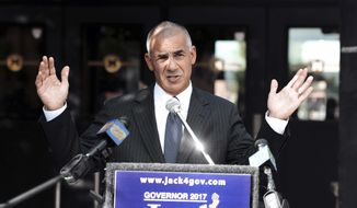File-This Oct. 4, 2016, file photo shows Republican Assemblyman Jack Ciattarelli declaring his candidacy for governor in Manville, N.J.  Republican Lt. Gov. Kim Guadagno and Ciattarelli opened the first debate to succeed Gov. Chris Christie in the state's primary with pointed attacks toward each other Tuesday, May 9, 2017. (Viorel Florescu/The Record via AP, File)