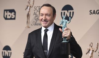 "In a Jan. 30, 2016, file photo, Kevin Spacey poses in the press room with the award for outstanding male actor in a drama series for ""House of Cards"" at the 22nd annual Screen Actors Guild Awards at the Shrine Auditorium & Expo Hall, in Los Angeles. (Photo by Jordan Strauss/Invision/AP, File)"