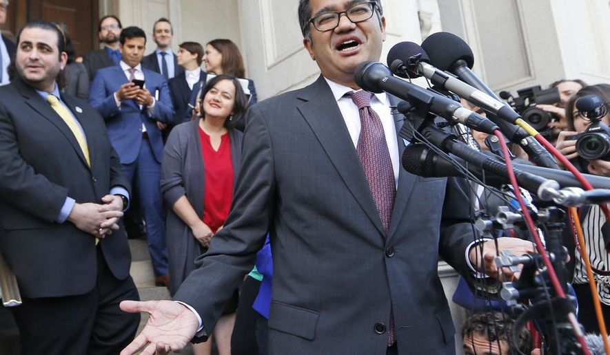 American Civil Liberties Attorney, Omar Jadwat, gestures as he speaks after a hearing before the 4th U.S. Circuit Court of Appeals in Richmond, Va., Monday, May 8, 2017. The court is examining a ruling that blocks the administration from temporarily barring new visas for citizens of Iran, Libya, Somalia, Sudan, Syria and Yemen. It's the first time an appeals court is hearing arguments on the revised travel ban, which is likely destined for the U.S. Supreme Court. (AP Photo/Steve Helber)