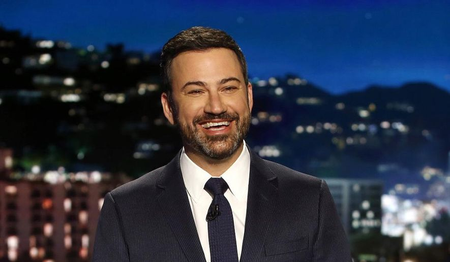 "In this April 11, 2017, file photo, host Jimmy Kimmel appears during a taping of ""Jimmy Kimmel Live,"" in Los Angeles. (Randy Holmes/ABC via AP, File)"