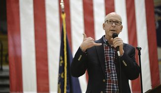 In a Monday, May 8, 2017 photo, U.S. Rep. Greg Walden, R-Ore., talks about the bills that have been passed recently in Congress during a town hall meeting, in Baker City, Ore. (E.J. Harris/East Oregonian via AP) ** FILE **