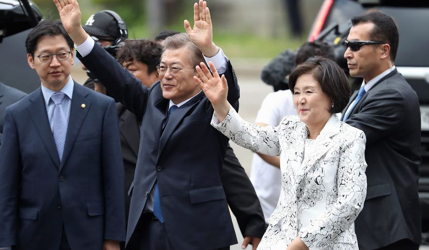 Newly elected South Korean President Moon Jae-in said Wednesday he was open to visiting rival North Korea under the right conditions to talk about Pyongyang's aggressive pursuit of nuclear-tipped missiles. U.S. forces remain on high alert in the region. (Associated Press)