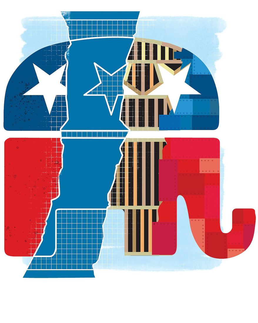 Illustration on remodeling the GOP by Linas Garsys/The Washington Times
