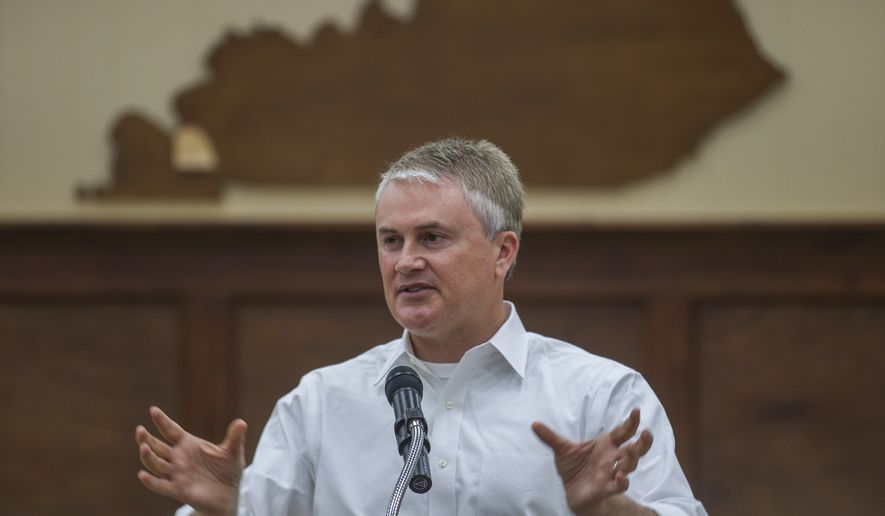 U.S. Rep. James Comer, R-Kentucky, speaks at a town hall in the courthouse at the Marshall County Town Hall in Benton, Ky., Wednesday, May 10, 2017. About 140 people attended the event, which marked the 15th town hall the congressman has held during his first five months on the job. (Ryan Hermens/The Paducah Sun via AP) ** FILE **