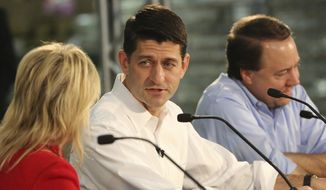 House Speaker Paul D. Ryan (center) spoke with Accel Inc. CEO Tara Abramson and Rep. Pat Tiberi during a roundtable discussion on tax reform Wednesday at Accel Inc. in New Albany, Ohio. (Associated Press)