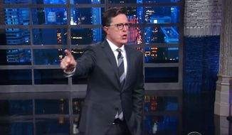"""CBS """"Late Show"""" host Stephen Colbert chides his audience for cheering the firing of FBI Director James Comey, May 9, 2017. (YouTube, CBS """"Late Show"""")"""
