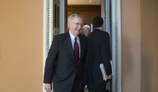 Senate Majority Leader Mitch McConnell, R-Ky., leaves a closed-door Republican strategy session at the Capitol in Washington, Tuesday, May 9, 2017, the day after the firing of FBI Director James B. Comey by President Donald Trump.  (AP Photo/J. Scott Applewhite) ** FILE **