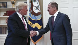 President Trump said his meeting last week with Russian Foreign Minister Sergey Lavrov will produce a more effective counterterrorism partnership with Moscow against the Islamic State group in the Middle East. (Associated Press)