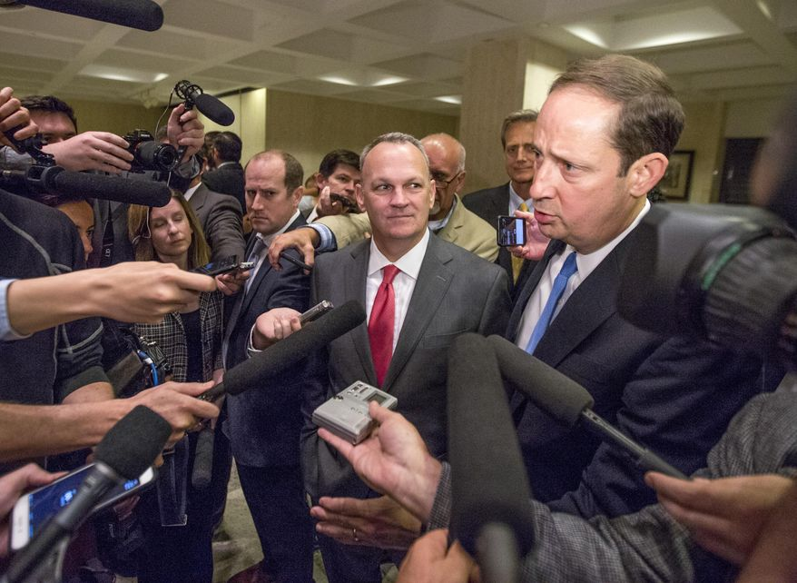 Florida Speaker of the House Richard Corcoran, left, and Senate President Joe Negron speak to the media after the 2017 legislative session ended Monday night May 8, 2017 at the Florida Capitol in Tallahassee, Fla. (AP Photo/Mark Wallheiser)