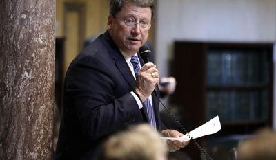 Sen. Mark Norris, R-Collierville, debates a bill on the Senate floor Wednesday, May 10, 2017, in Nashville, Tenn. (AP Photo/Mark Humphrey)