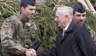 U.S. Secretary of Defense James Mattis, right, greet soldiers of the Germany's Army at the Training Range in Pabrade, some 60km.(38 miles) north of the capital Vilnius, Lithuania, Wednesday, May 10, 2017. Mattis said NATO is helping provide a deterrent against potential Russian aggression in eastern Europe. (AP Photo/Mindaugas Kulbis)
