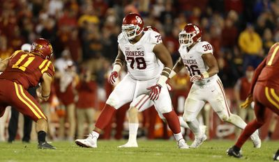 FILE - In this Nov. 3, 2016, file photo, Oklahoma offensive tackle Orlando Brown (78) looks to make a block during the second half of an NCAA college football game against Iowa State, in Ames, Iowa. At 6-7 and 340, Brown took a big leap forward from his redshirt freshman season to last year in fundamentals and technique. (AP Photo/Charlie Neibergall, File)