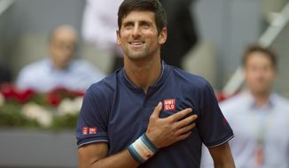 Novak Djokovic of Serbia gestures after defeating Nicolas Almagro of Spain 6-1, 6-4, 7-5 during a Madrid Open tennis tournament match in Madrid, Spain, Wednesday, May 10, 2017. (AP Photo/Paul White)